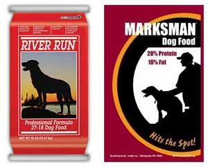 Cargill dog food recall. River Run dog food, Marksman dog food