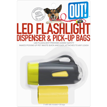 flashlight and dog waste pickup bags