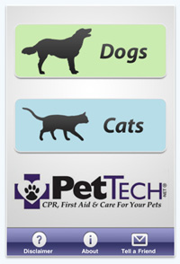 Pet first aid iPhone app. The PetSaver iPhone app by Pet Tech helps dog and cat owners with pet first aid and pet care